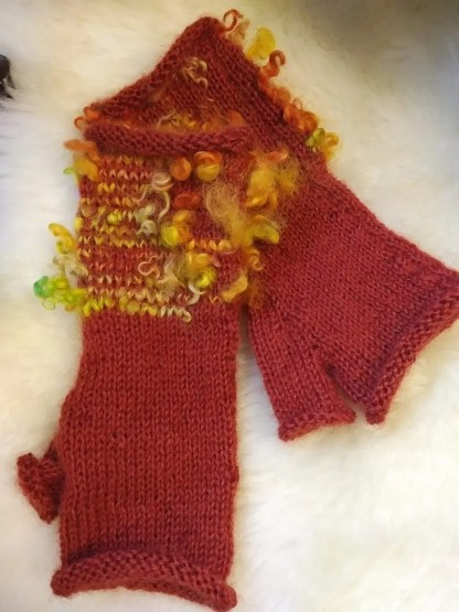 Wensleydale Thornton Rust Fingerless Gloves
