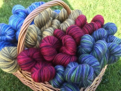 Hand Dyed 4 Ply Wensleydale in basket