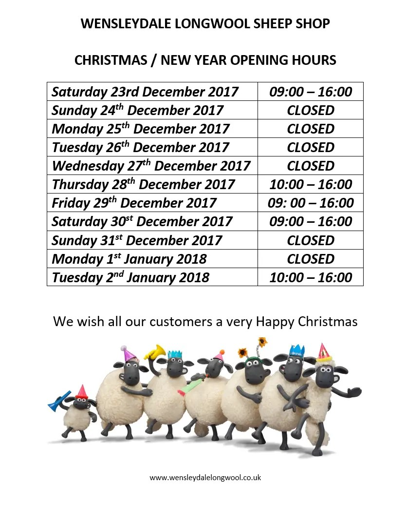 Sheep Shop Xmas Opening Hours 2017