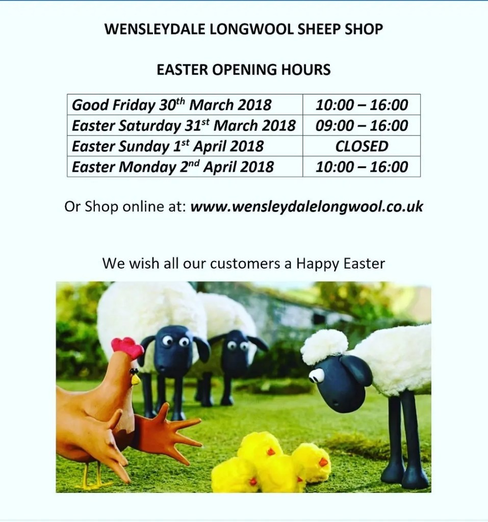 Wensleydale Longwool Sheep Shop Easter Opening Hours