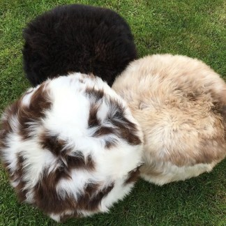 Sheepskin Footstool trio