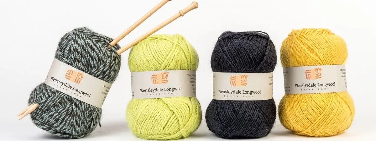 Wensleydale Longwool yarn with Knitting Needles
