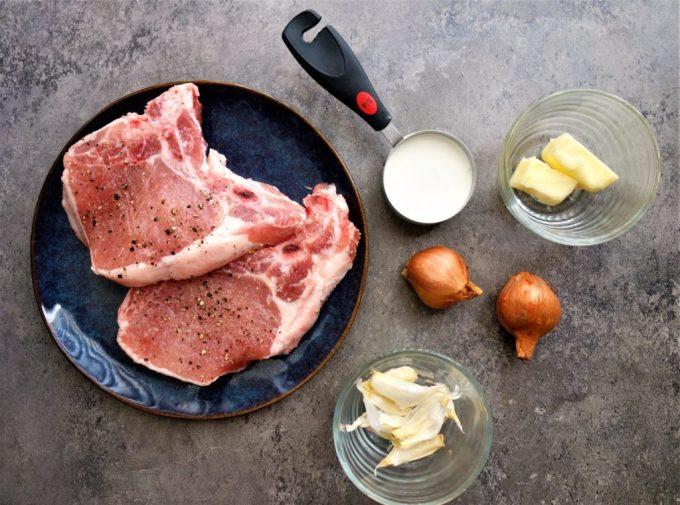 pork chops in creamy shallot sauce