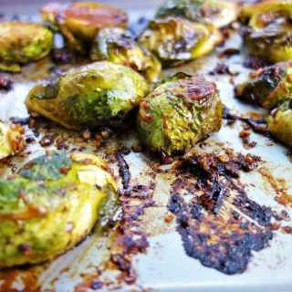 Balsamic Vinegar and Parmesan Roasted Brussels Sprouts