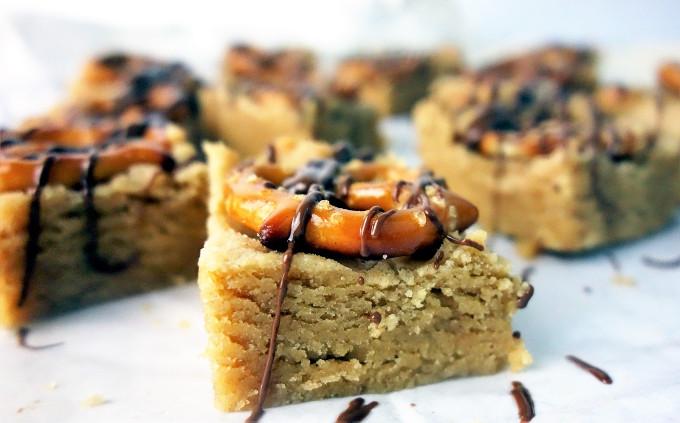 20 Minute Salted Pretzel Peanut Butter Cookie Bars
