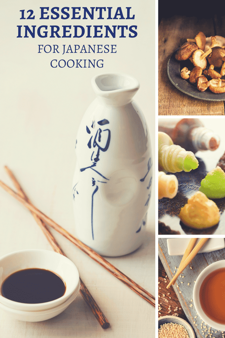 The 12 essential ingredients for Japanese cooking. Learn how to stock your pantry with everything you need to start cooking Japanese!  japanese cooking | japanese ingredients | miso | sake | soy sauce | Japanese recipes | Japanese cooking basics | sesame oil | mirin | dashi stock | wasabi | Japanese pantry | home made japanese