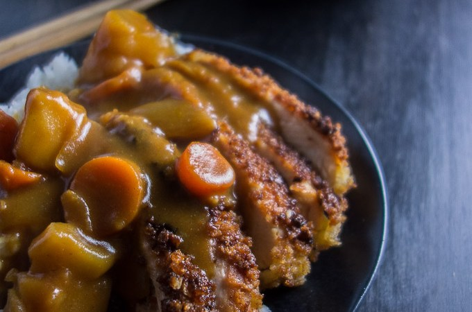 Easy Chicken Katsu Curry Don, fried chicken cutlets with japanese curry sauce, potatoes, carrots and white rice