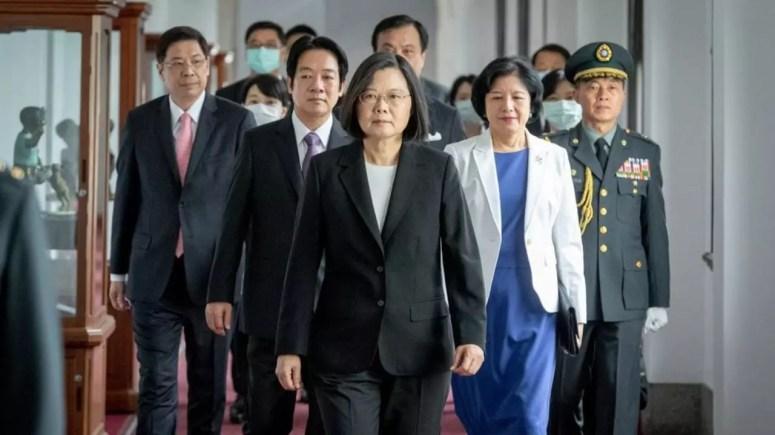 台湾总统蔡英文等人资料图片