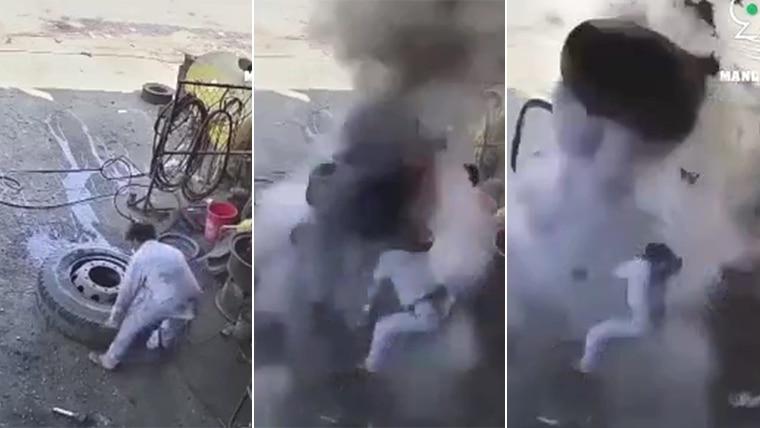 惊悚视频:补胎大爆炸!车厂老板腾空翻转当场毙命