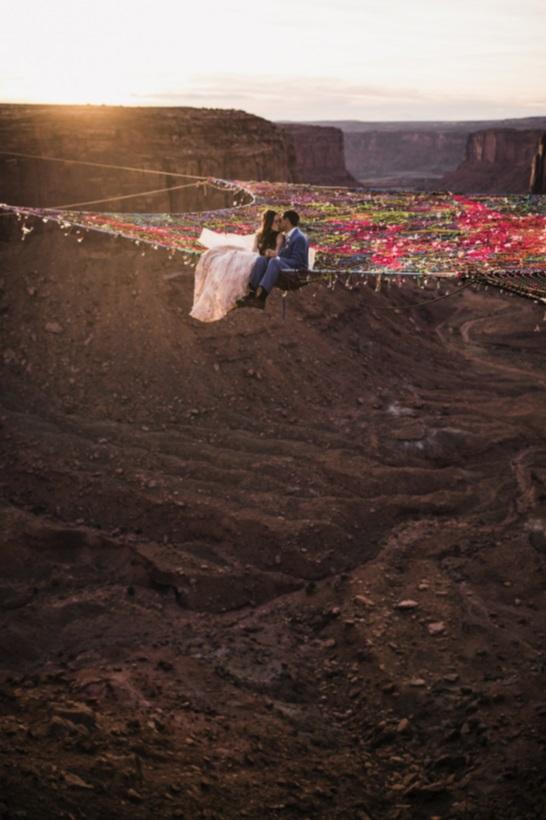 史上最浪漫(疯狂)的婚礼 在400英尺高空举办(组图)