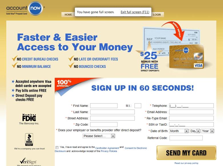 Gold Visa Accountnow Com