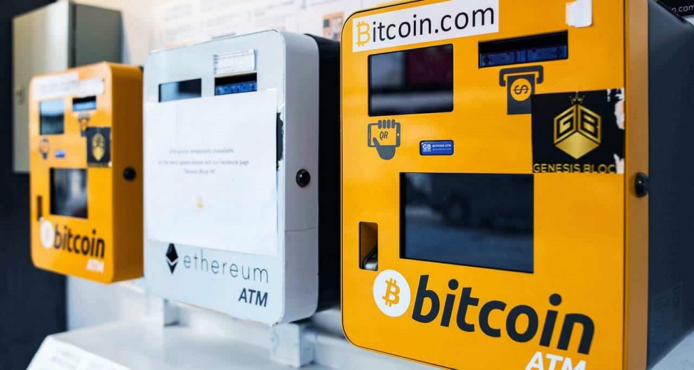 This is an image of cryptocurrency ATM machines showing bitcoin and ethereum.