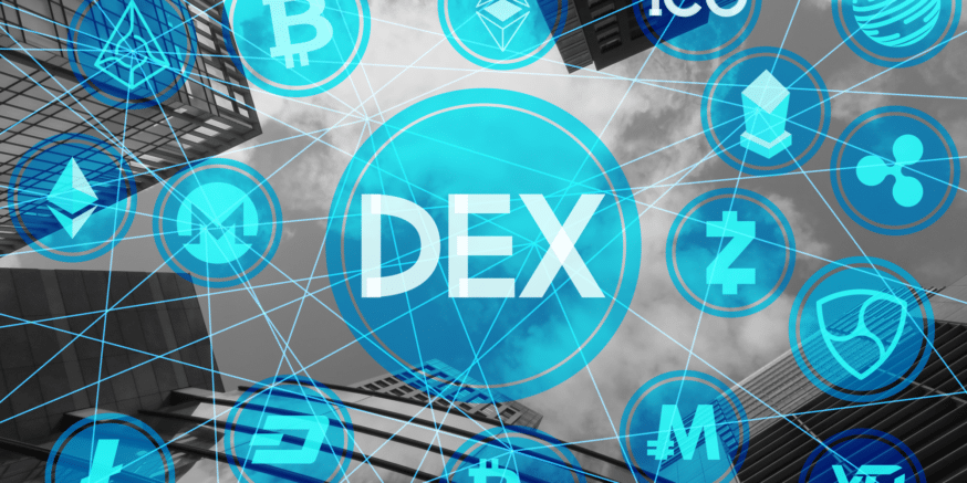 DEX or Decentalised exchanges in an image showing all the famous cryptocurrencies.