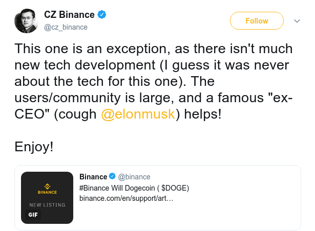 image showing binance CEO talk about Dogecoin on Binance