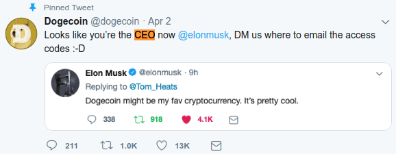 Image showing the Dogecoin twitter account appointing Elon Musk CEO