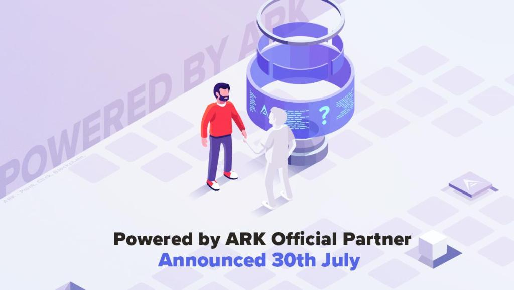 Image showing ARK.io 30 July announcement poster.