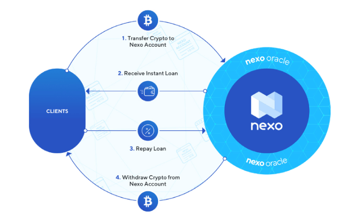 Crypto lender Nexo reports 12.73% dividend for investors. Image showing how it works.