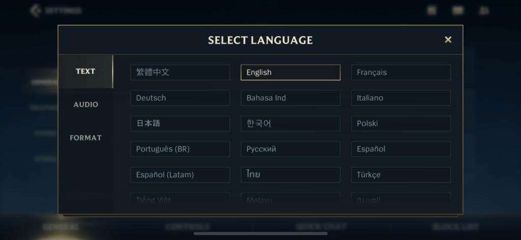 Language switcher menu in Wild Rift