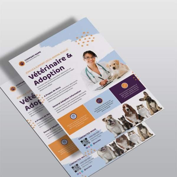 flyer vétérinaire et animaux
