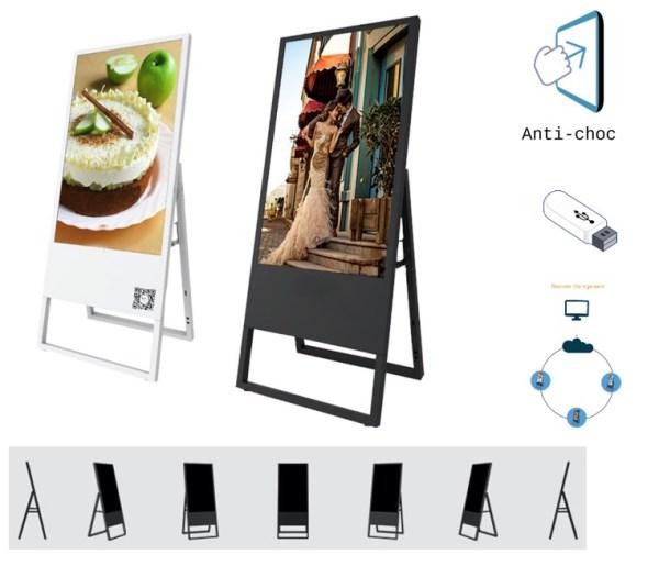 Ardoise / présentoir numérique pliable grand format: