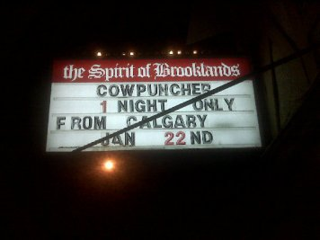Cool marquee for one of the scariest shows of our lives - Spirit of Brooklands - Winnipeg, MB - Jan 23, 2010