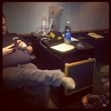 Harley and Matt in the truck. Recording Ghost Notes - September 13-16, 2012