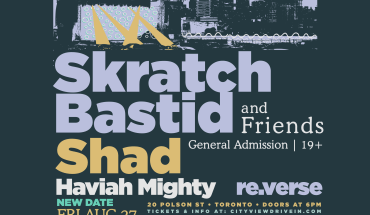 Skratch Bastid and Friends poster announcing the lineup with Shad, Haviah Might, and re.verse