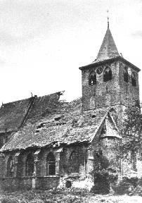 Kerk beschadigd in de oorlog