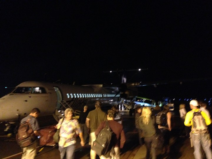 Getting off of the plane at BLI.