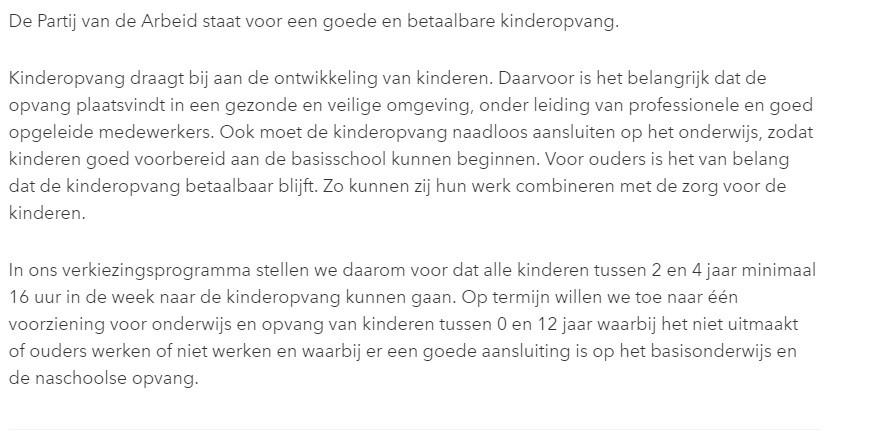 PvdA : Standpunt over kinderopvang (2017)