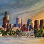 Philadelphia Skyline (New Moon Over Philly) by Moss Adams