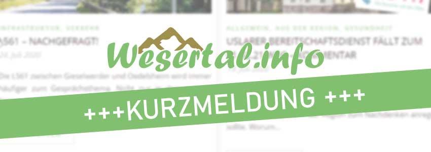 Wesertal.info Beitragsbild für Kurzmeldungen