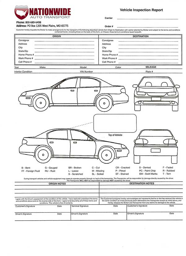 Auto Transport Invoice Template Vehicle Transport Bill Of Lading
