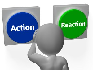Action Reaction Buttons Showing Control Or Effect