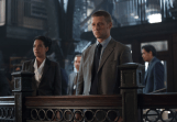 """GOTHAM: An unwelcome visitor searches for Detective James Gordon (Ben McKenzie, R) at the GCPD in the """"Penguin's Umbrella"""" episode of GOTHAM airing Monday, Nov. 3 (8:00-9:00 PM ET/PT) on FOX. Also pictured: Zabryna Guevara. ©2014 Fox Broadcasting Co. Cr: Jessica Miglio/FOX"""