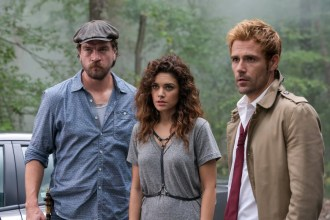 """CONSTANTINE -- """"Danse Vaudou"""" Episode 106 -- Pictured: (l-r) Charles Halford as Chas, Angelica Celaya as Zed, Matt Ryan as John Constantine -- (Photo by: Tina Rowden/NBC)"""