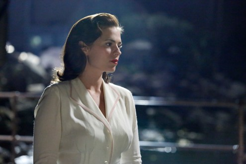 """MARVEL'S AGENT CARTER - """"Pilot"""" - It's 1946 and peace has dealt Agent Peggy Carter (Hayley Atwell), a serious blow as she finds herself marginalized when the men return home from fighting abroad. Working for the covert SSR (Strategic Scientific Reserve), Peggy finds herself stuck doing administrative work when she would rather be back out in the field, putting her vast skills into play and taking down the bad guys. But she is also trying to navigate life as a single woman in America, in the wake of losing the love of her life, Steve Rogers - aka Captain America. When old acquaintance Howard Stark (Dominic Cooper, """"Marvel's Captain America: The First Avenger"""") finds himself being framed for unleashing his deadliest weapons to anyone willing to pony up the cash, he contacts Peggy -- the only person he can trust -- to track down those responsible, dispose of the weapons and clear his name. He empowers his butler, Edwin Jarvis (James D'Arcy), to be at her beck and call when needed to help assist her as she investigates and tracks down those responsible for selling these weapons of mass destruction. If caught going on these secret missions for Stark, Peggy could be targeted as a traitor and spend the rest of her days in prison - or worse. """"Marvel's Agent Carter"""" will debut with a two-hour premiere on TUESDAY, JANUARY 6 (8:00-10:00 p.m., ET), on ABC. (ABC/Kelsey McNeal) HAYLEY ATWELL"""