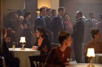 """MARVEL'S AGENT CARTER - """"Pilot"""" - It's 1946 and peace has dealt Agent Peggy Carter (Hayley Atwell), a serious blow as she finds herself marginalized when the men return home from fighting abroad. Working for the covert SSR (Strategic Scientific Reserve), Peggy finds herself stuck doing administrative work when she would rather be back out in the field, putting her vast skills into play and taking down the bad guys. But she is also trying to navigate life as a single woman in America, in the wake of losing the love of her life, Steve Rogers - aka Captain America. When old acquaintance Howard Stark (Dominic Cooper, """"Marvel's Captain America: The First Avenger"""") finds himself being framed for unleashing his deadliest weapons to anyone willing to pony up the cash, he contacts Peggy -- the only person he can trust -- to track down those responsible, dispose of the weapons and clear his name. He empowers his butler, Edwin Jarvis (James D'Arcy), to be at her beck and call when needed to help assist her as she investigates and tracks down those responsible for selling these weapons of mass destruction. If caught going on these secret missions for Stark, Peggy could be targeted as a traitor and spend the rest of her days in prison - or worse. """"Marvel's Agent Carter"""" will debut with a two-hour premiere on TUESDAY, JANUARY 6 (8:00-10:00 p.m., ET), on ABC. (ABC/Eric McCandless) KYLE BORNHEIMER, CHAD MICHAEL MURRAY, JEFFREY DAVID ANDERSON"""