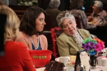 """PARKS AND RECREATION -- """"Galentine's Day"""" Episode 617 -- Pictured: (l-r) Aubrey Plaza as April Ludgate, Helen Slayton-Hughes as Ethel Beavers -- (Photo by: Danny Feld/NBC)"""