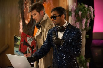 "PARKS AND RECREATION -- ""Prom"" Episode 618 -- Pictured: (l-r) Adam Scott as Ben Wyatt, Aziz Ansari as Tom Haverford -- (Photo by: Colleen Hayes/NBC)"