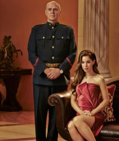 DOMINION -- Season:1 -- Pictured: (l-r) Alan Dale as General Riesen, Roxanne McKee as Claire Riesen -- (Photo by: Gavin Bond/Syfy)