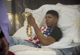 """EMPIRE: Hakeem (Bryshere Gray) is given a gift that belonged to Bunkie in the """"Outspoken King"""" episode of EMPIRE airing Monday, Jan. 14 (9:00-10:00 PM ET/PT) on FOX. ©2014 Fox Broadcasting Co. CR: Chuck Hodes/FOX"""