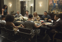 """EMPIRE: Cookie (Taraji P. Henson, L) says grace in the """"The Devil Quotes Scripture"""" episode airing Wednesday, Jan. 21 (9:00-10:00 PM ET/PT) on FOX. Pictured L-R: Bryshere Gray, Jussie Smollett, Serayah McNeill, Rafael de la Fuente, Grace Gealey, Katilin Doubleday, Trai Byers and Terrence Howard. . ©2014 Fox Broadcasting Co. CR: Chuck Hodes/FOX"""