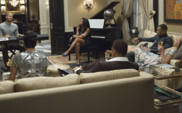 """EMPIRE: The family watches Jamal (Jussie Smollet, L) perform in the """"The Devil Quotes Scripture"""" episode airing Wednesday, Jan. 21 (9:00-10:00 PM ET/PT) on FOX. Also Pictured L-R: Grace Gealey, Taraji P. Henson, Terrence Howard, Trai Byers and Kaitlin Doubleday. ©2014 Fox Broadcasting Co. CR: Chuck Hodes/FOX"""
