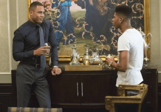 "EMPIRE: Andre (Trai Byers, L) and Hakeem (Bryshere Gray, R) have a conversation in the ""The Devil Quotes Scripture"" episode airing Wednesday, Jan. 21 (9:00-10:00 PM ET/PT) on FOX. . ©2014 Fox Broadcasting Co. CR: Chuck Hodes/FOX"