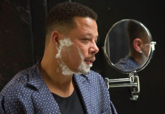 "EMPIRE: Lucious (Terrence Howard, L) tells Anika that he has ALS in the ""False Imposition"" episode of EMPIRE airing Wednesday, Jan. 28 (9:00-10:00 PM ET/PT) on FOX. ©2014 Fox Broadcasting Co. CR: Chuck Hodes/FOX"