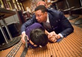 """EMPIRE: Lucious (Terrence Howard, R) protects Anika in the """"False Imposition"""" episode of EMPIRE airing Wednesday, Jan. 28 (9:00-10:00 PM ET/PT) on FOX. ©2014 Fox Broadcasting Co. CR: Chuck Hodes/FOX"""