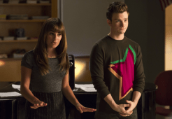 "GLEE: Rachel (Lea Michele, L) and Kurt (Chris Colfer, R) return to McKinley High to coach the glee club in the second part of the special two-hour ""Loser Like Me/Homecoming"" Season Premiere episode of GLEE on Friday, Jan. 9 (8:00-10:00 PM ET/PT) on FOX. ©2014 Fox Broadcasting Co. CR: Jennifer Clasen/FOX"