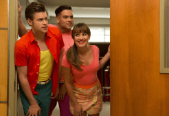 """GLEE: McKinley High alumnae's perform in the second part of the special two-hour """"Loser Like Me/Homecoming"""" Season Premiere episode of GLEE on Friday, Jan. 9 (8:00-10:00 PM ET/PT) on FOX. Pictured L-R: Chord Overstreet, Lea Michele and Mark Salling. ©2014 Fox Broadcasting Co. CR: Jennifer Clasen/FOX"""