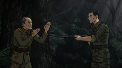 """ARCHER: Episode 1, Season 6 """"The Holdout"""" (Airing Thursday, January 8, 10:00 PM e/p) Archer must salvage a crashed plane in a jungle filled with relics from World War II. Pictured: (right) Sterling Archer (voice of H. Jon Benjamin). CR: FX"""